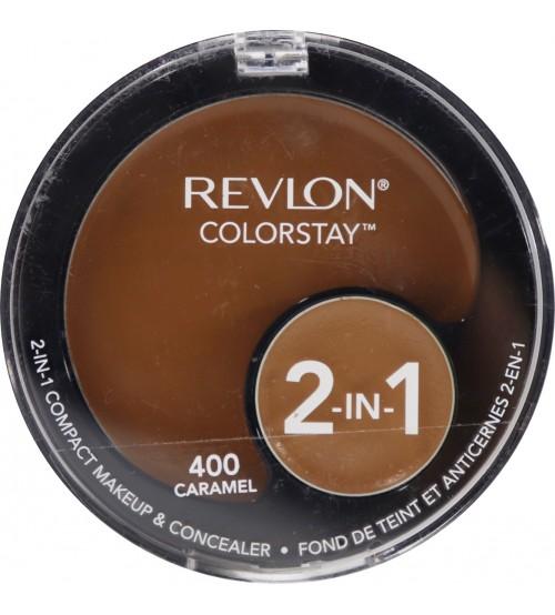 Fond de ten compact si corector Revlon Colorstay 2in1 400 Caramel