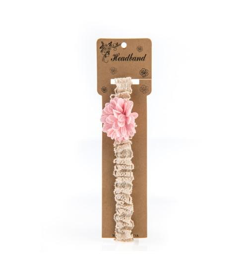 Bentita pentru copii cu aplicatie florala Roz Pal