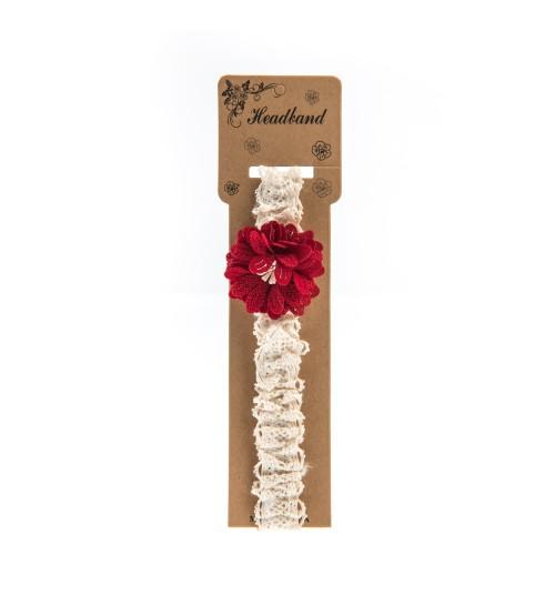 Bentita pentru copii cu aplicatie florala Rosie
