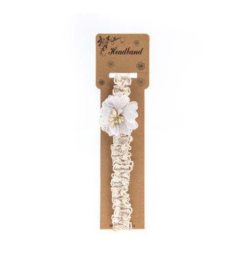 Bentita pentru copii cu aplicatie florala Alba