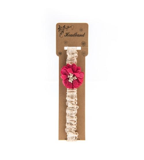 Bentita pentru copii cu aplicatie florala Roz