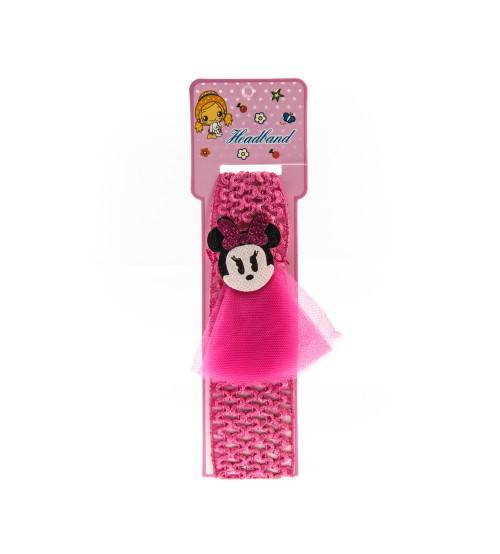 Bentita pentru copii cu aplicatie Minnie Mouse Roz