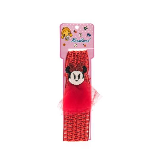 Bentita pentru copii cu aplicatie Minnie Mouse Rosu